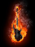 Electric Guitar. In fire Isolated on Black Background. Computer Graphics Royalty Free Stock Photo