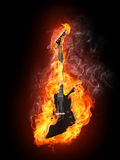 Electric Guitar. In fire Isolated on Black Background. Computer Graphics Stock Images