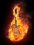 Electric Guitar. In fire Isolated on Black Background. Computer Graphics Royalty Free Stock Image