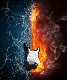Electric Guitar. On Fire and Water Isolated on Black Background. Computer Graphics Stock Image