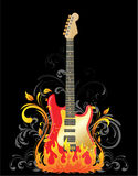 Electric guitar. On floral background Royalty Free Stock Image