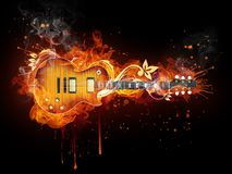 Electric Guitar. In fire Isolated on Black Background. Computer Graphics Royalty Free Stock Photography