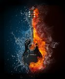 Electric Guitar. On Fire and Water Isolated on Black Background. Computer Graphics Royalty Free Stock Photo