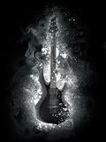 Electric Guitar. In Snow and Smoke Isolated on Black Background. Computer Graphics Stock Photo