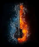 Electric Guitar. On Fire and Water Isolated on Black Background. Computer Graphics Royalty Free Stock Image