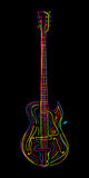 Electric guitar. Stylized electric guitar on black background Stock Photos