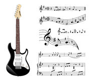Electric guitar. And music on the white background Vector Illustration
