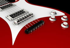 Electric guitar. Detail of a red electric guitar  - rendered in 3d Stock Images