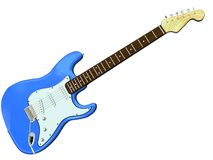 Electric Guitar. 3d blue electric guitar white background Royalty Free Stock Photography