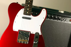 Electric guitar and amp #1. Telecaster leaning up against amp Stock Images