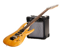 Electric guitar with amplifier Stock Photos