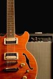Electric guitar and amplifier stock photos
