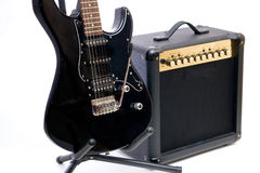 Electric guitar and amplifier Stock Photos