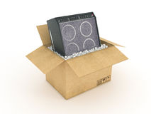 Electric guitar amplifier in cardboard box. Design made in 3D Stock Photography