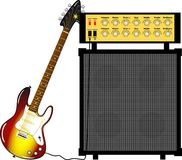 Electric guitar and a guitar amplifier. Illustration of an electric guitar in sunburts color and an amplifier Stock Illustration