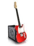 Electric guitar and amplifier. Electric guitar and guitar amplifier. Made in 3d Royalty Free Stock Photos