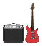 Electric Guitar and Amplifier Stock Photo