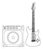 Electric Guitar and Amplifier Stock Image