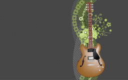 Electric guitar background. An illustration of an electric guitar on floral background Stock Image