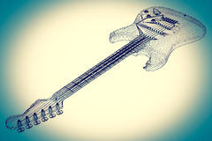 Electric guitar on background. Electric guitar  3D model body structure, wire model Royalty Free Stock Photos