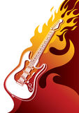Electric guitar banner. With stylized fire Stock Photos