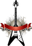 Electric guitar and banner Stock Photography