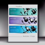Electric guitar banners stock illustration