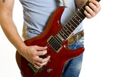 Electric guitar being played Royalty Free Stock Photos