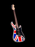 Electric guitar on black background. Great britain flag paint Royalty Free Stock Images