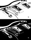 Electric guitar black-white version Stock Image