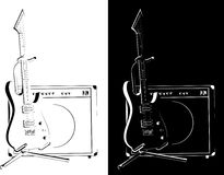 Electric guitar black-white version Stock Photography
