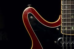 Electric guitar body and neck detail royalty free stock photography