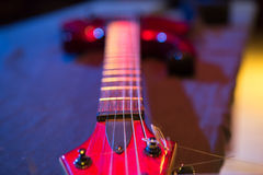 Electric guitar bridge and pickup Royalty Free Stock Photography