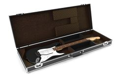 Electric guitar in brown Case isolated Royalty Free Stock Photos