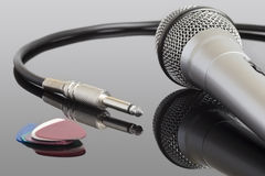Electric guitar cable. Microphone and audio jack cable. Can be used in a music concept Stock Photos