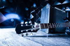 Electric guitar and classic amplifier Stock Images