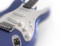 Electric guitar. Close-up of a blue electric guitar. Selected focus. Copy space stock images