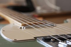 Electric guitar in close up with selective focus. Stock photo royalty free stock photography