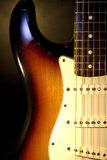 Electric guitar closeup. Closeup of a fender stratocaster american vintage 62 eletric guitar Royalty Free Stock Photography