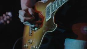 Electric guitar closeup stock footage