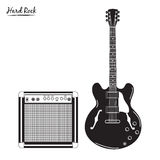 Electric guitar and combo amp, hard rock Royalty Free Stock Photography