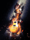 Electric Guitar Consumed in Flames. Full Length of Electric Guitar Consumed in Flames on Black Background and Illuminated by Spotlight - Music Concept Image. 3d Royalty Free Stock Photos