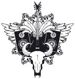 Electric guitar and cow skull. Emblem with an electric guitar, wings, speakers and cow skull Royalty Free Stock Photos