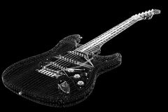 Electric guitar. 3D model body structure, wire model Royalty Free Stock Images