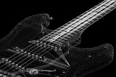 Electric guitar. 3D model body structure, wire model Stock Image