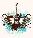 Electric guitar with design elements Royalty Free Stock Photos
