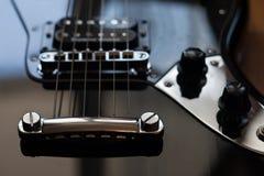 Electric guitar. Detail. Fender Yaguar black Stock Photography