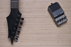 Electric guitar and distortion unit Stock Photo
