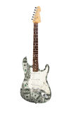 Electric guitar, 100 Dollar design. Electric guitar covered with 100 Dollar bills Stock Photo