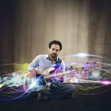 Electric guitar effect stock image